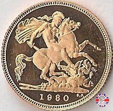 1/2 sovereign - tipo coronata giovane 1980 (Royal Mint, Llantrisant)