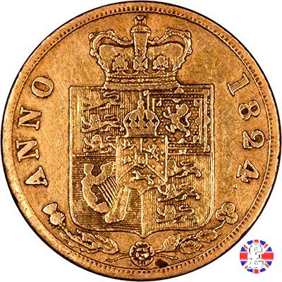 1/2 sovereign -testa laureata e 2° tipo stemma 1824 (London)