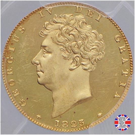 1/2 sovereign - testa nuda e 3° tipo stemma 1825 (London)