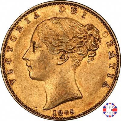 1 sovereign - primo tipo giovane e stemma 1845 (London)