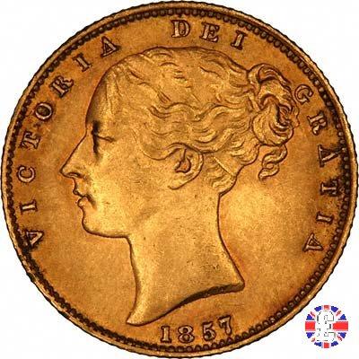 1 sovereign - secondo tipo giovane e stemma 1857 (London)